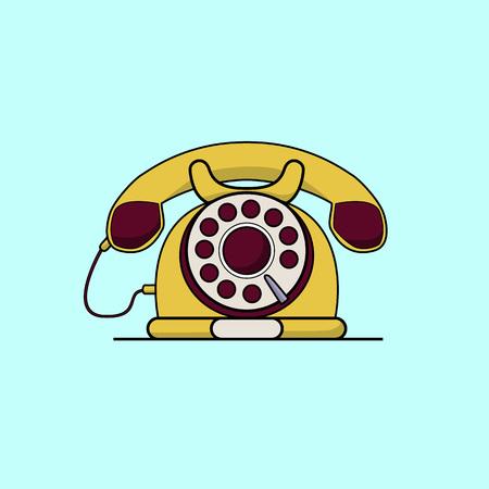 vintage telephone: Vintage yellow telephone. Line art flat color vector illustration