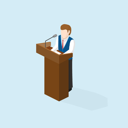 businesslike: Business man public speaker staying in the pulpit on conference