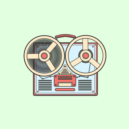grabador de cinta obsoleto con dos bobinas.