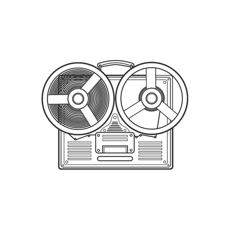 hi fi: Obsolete tape recorder with two bobbins. Vector lineart illustration Illustration