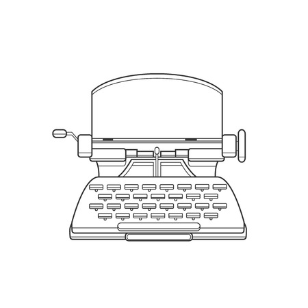 typewriting machine: Flat and line design style modern illustration concept of a manual vintage stylish typewriter.