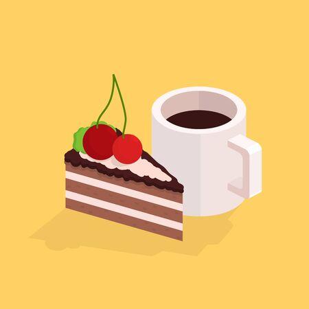 trozo de pastel: Taza de café y un pastel. ilustración isométrica