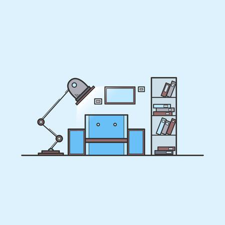 reading room: reading room. line art color illustration