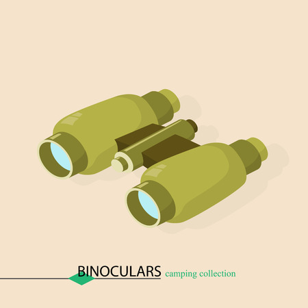 approaching: binoculars for approaching objects. Isometric illustration.