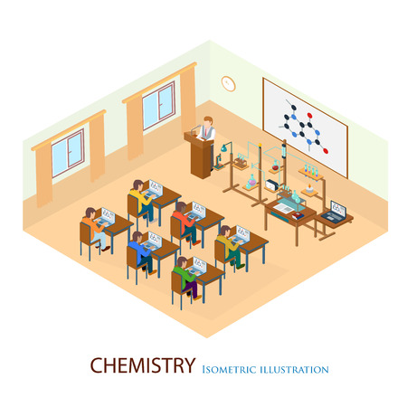 teacher and student: The professor gave a lecture on chemistry standing on chair. Isometric illustration. Illustration
