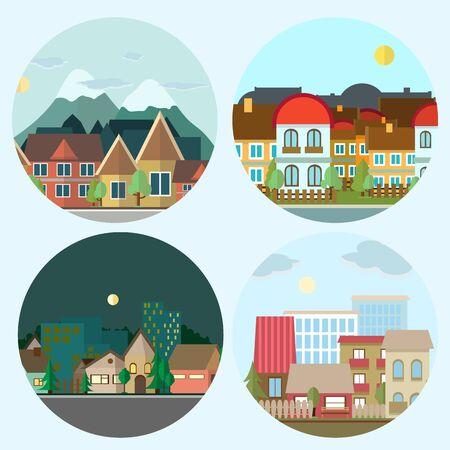Flat color design urban landscape day and night illustration.