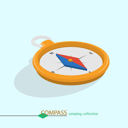 to determine: Compass to determine the route. Isometric color illustration.