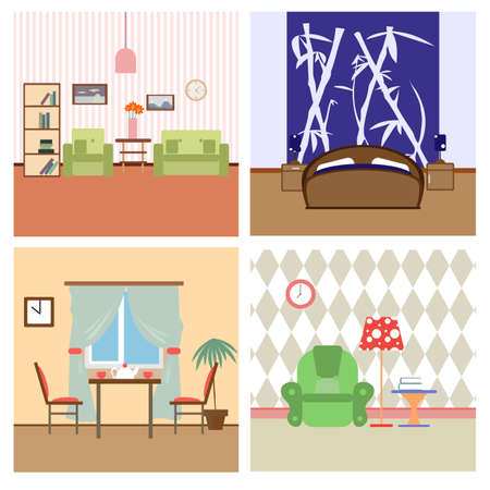 interiors: Flat house Interiors colorfull lineart illustration