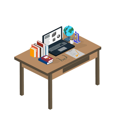 taught: Online education. Students are taught online. Flat modern illustration of learning process. Isometric Illustration