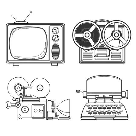 tehnology: Retro tehnology vector lineart black and white illustration.