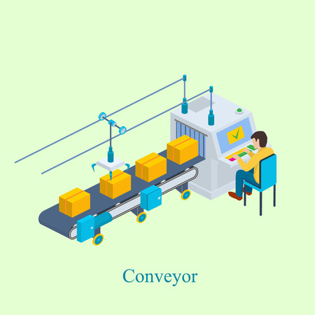 Conveyor vector illustration. Isometric industrial production line packaging new goods. Production line with conveyor belt.