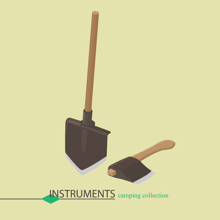hand shovels: Tools for campaign shovel and an ax. Isometric illustration