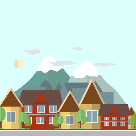 suburban street: Flat design urban landscape day illustration on a background of mountains