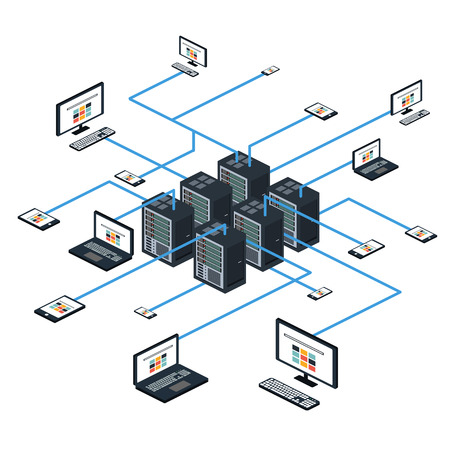 Conjunto de datos isométrica con el centro de datos y elementos de red ilustración