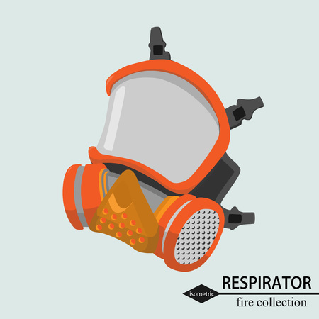 Respiratory protection for the respiratory tract Fire. Isometric vector illustration