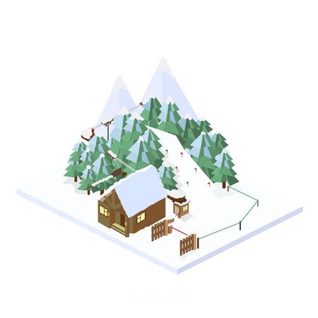 ski resort: Ski Resort. Mountain landscapes. Vector isometric illustrations. The ski resort in the high snowy Illustration