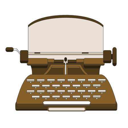 Flat and line design style modern illustration concept of a manual vintage stylish typewriter.