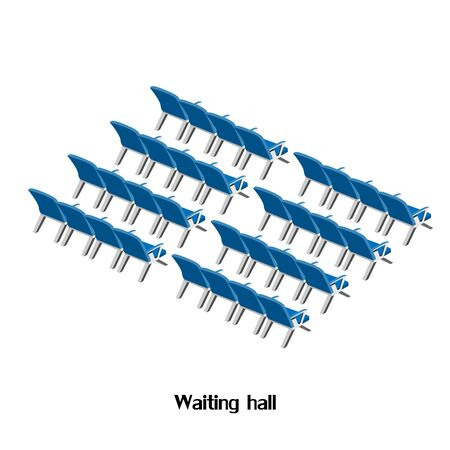 waiting room: waiting room at the airport or train station. Isometric illustration