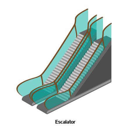 Escalator for lowering and lifting the airport, shops, railway stations. Isometric illustration Illustration