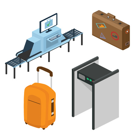 Objects in a airport. Part of the interior. Isometric vector illustration