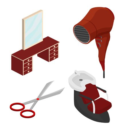 Objects in a beauty salon. Part of the interior. Isometric vector illustration Illustration