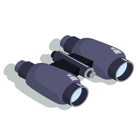 binoculars for approaching objects. Isometric vector illustration.
