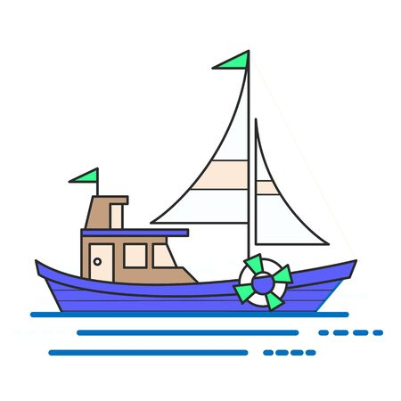 Cool line art flat design boat web icon. Boat decorative graphic design element, side view, isolated