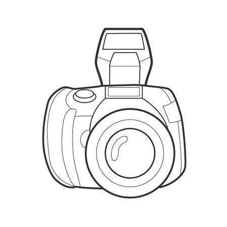Symbol photo camera. Icon for web site. Line art colorfull  illustration