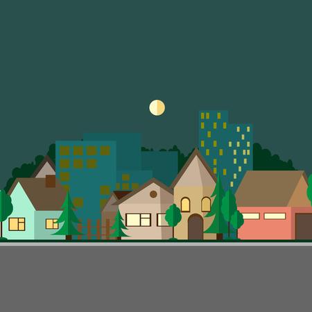Flat design urban landscape day. Colorfull illustration