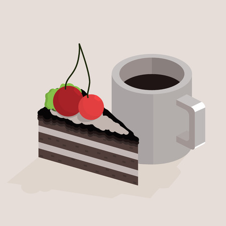 Cup of coffee and a piece of cake. isometric illustration