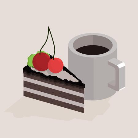 trozo de pastel: Taza de café y un trozo de tarta. ilustración isométrica Vectores