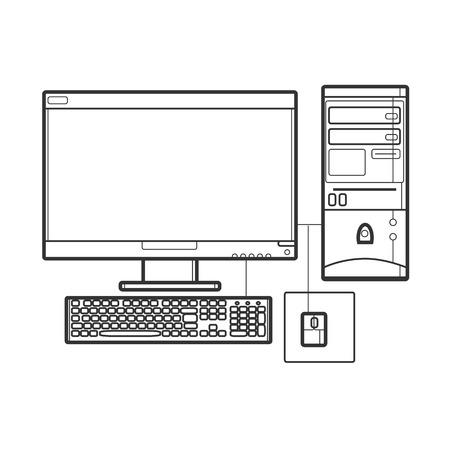 Symbol desktop computer. Icon for web site. Line art illustration 矢量图像