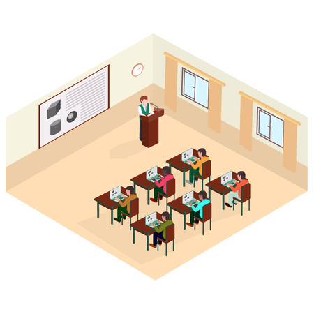 The professor gave a lecture on the subject of fine art standing at the department. Isometric illustration. 矢量图像