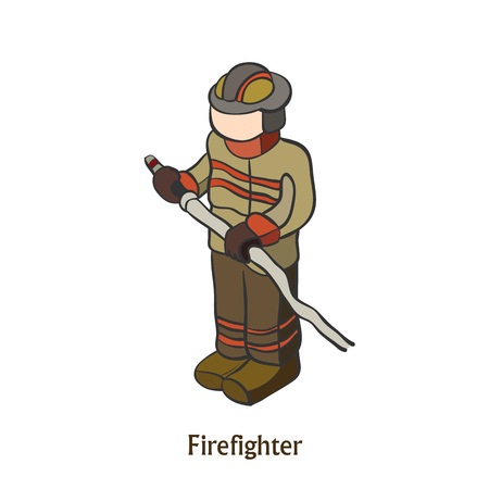 Man engaged in firefighting. save people. isometric illustration 矢量图像