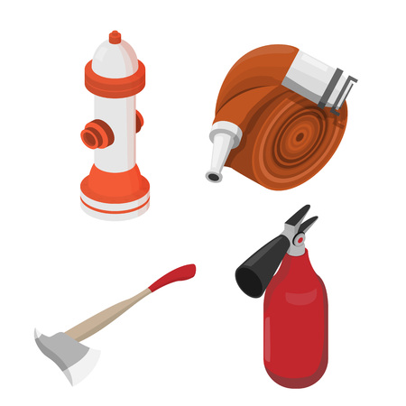 Objects to deal with dangerous situations. Vector isometric illustration