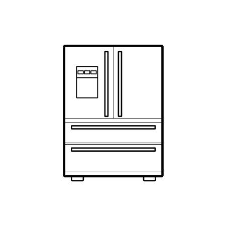 Symbol of fridge. icon. lineart vector illustration
