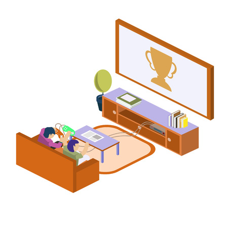 Two school kids playing video games together. Video games concept. Isometric style vector illustration isolated on white background.