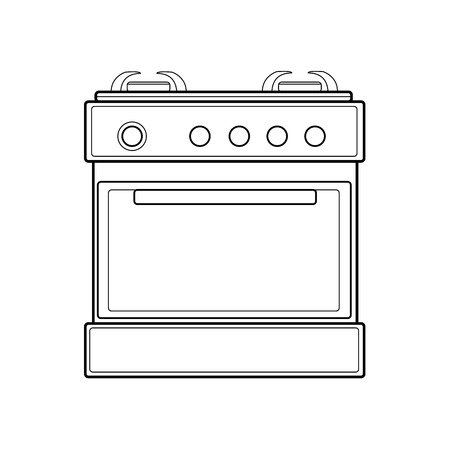 symbol of gas stove. colorful line art. Vector illustration 矢量图像