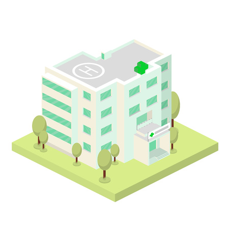 Vector isometric illustration. Hospital building and landscape with trees.