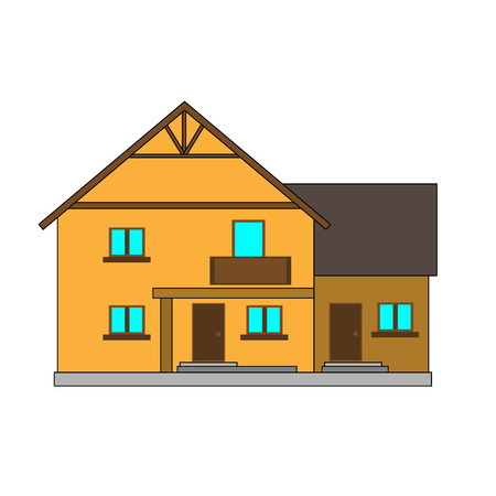 Flat vector illustration house for the creation of the urban landscape