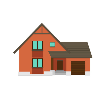 House to create a streetscape. Flat vector illustration