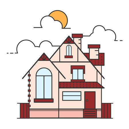 Vector line art illustration of house icon isolated on white background. 矢量图像