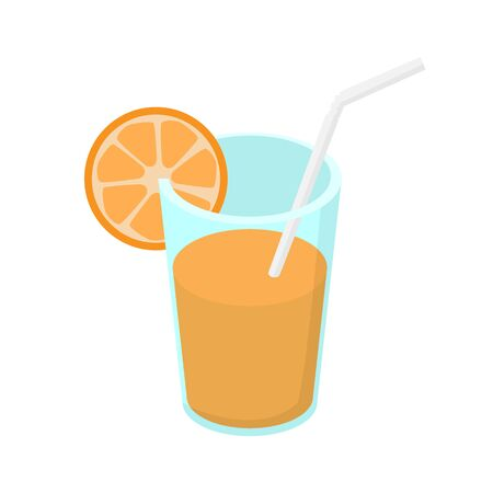 orange juice in a glass with a straw. Isometric illustration