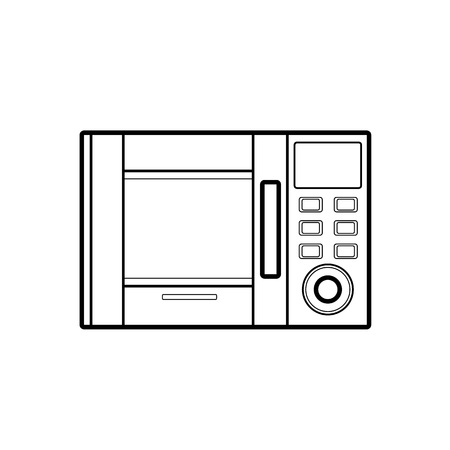 Symbol of microwave. color line art for web.