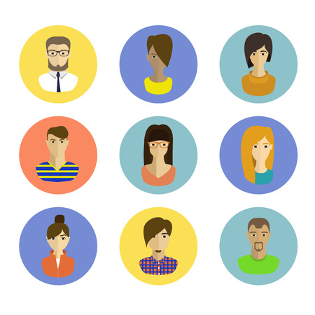 peoples faces avatars. flat style icons set