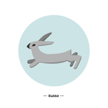 The symbol of the hare in style flat. color illustration