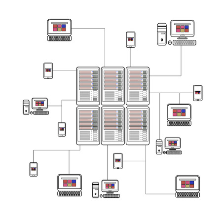 data center and network elements illustration