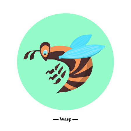 The symbol of the wasp in style flat. illustration 矢量图像