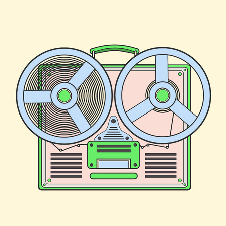 Obsolete tape recorder with two bobbins. lineart illustra