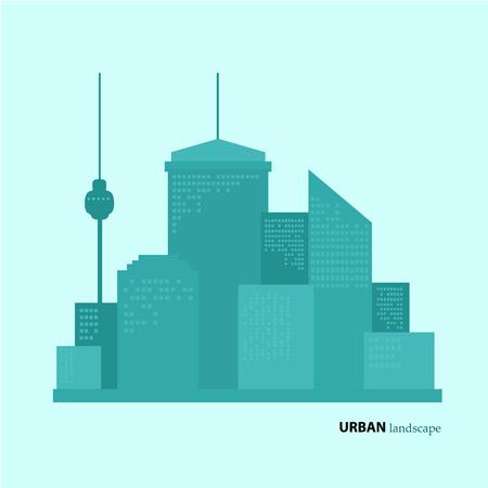 Flat design urban landscape. color illustration 矢量图像